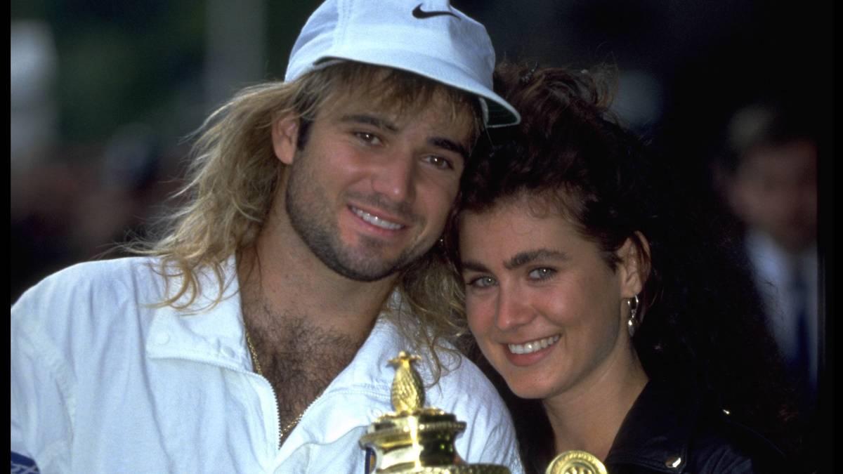Andre Agassi (mit seiner damaligen Freundin Wendi Stewart) gewann 1992 Wimbledon