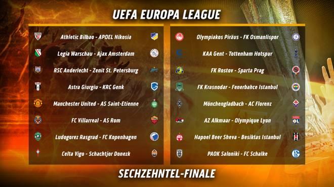 Die Zwischenrunden-Partien in der UEFA Europa League im Überblick