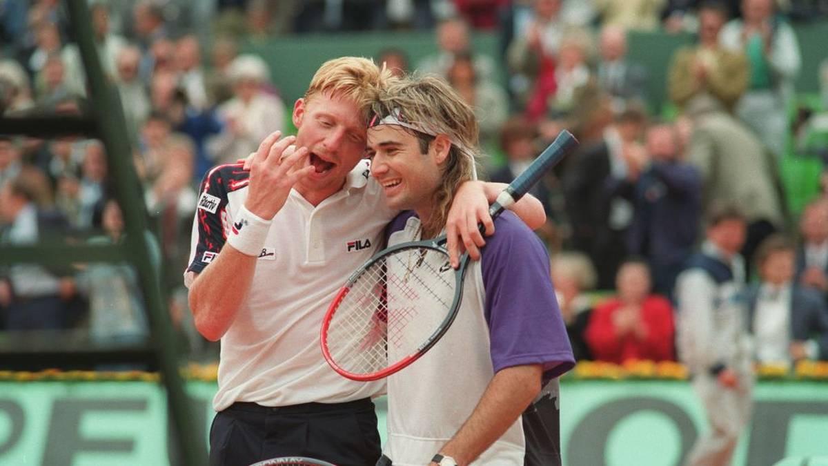 Boris Becker und Andre Agassi bei den French Open 1991