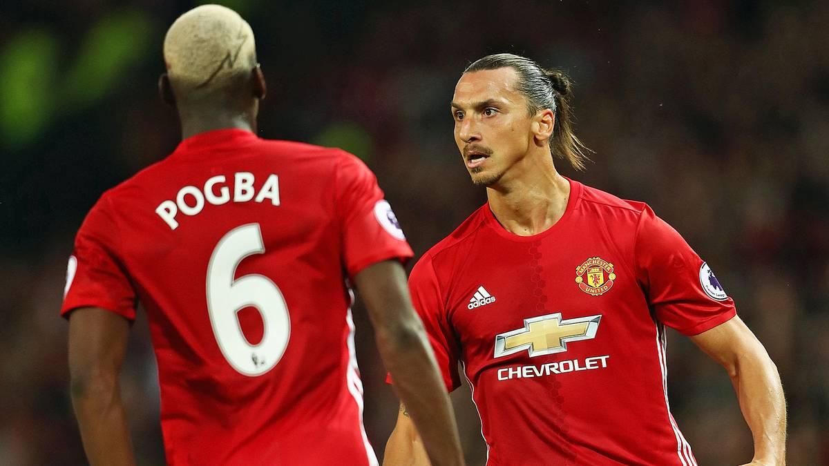 Zlatan Ibrahimovic (r.) und Paul Pogba wechselten im Sommer zu Manchester United