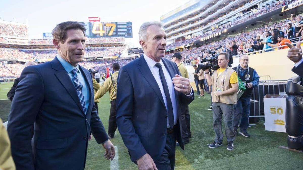 Steve Young und Joe Montana bei einem Wiedersehen beim Super Bowl 50 2016