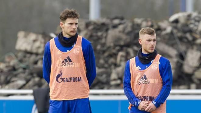 Leon Goretzka und Max Meyer im Training des FC Schalke 04