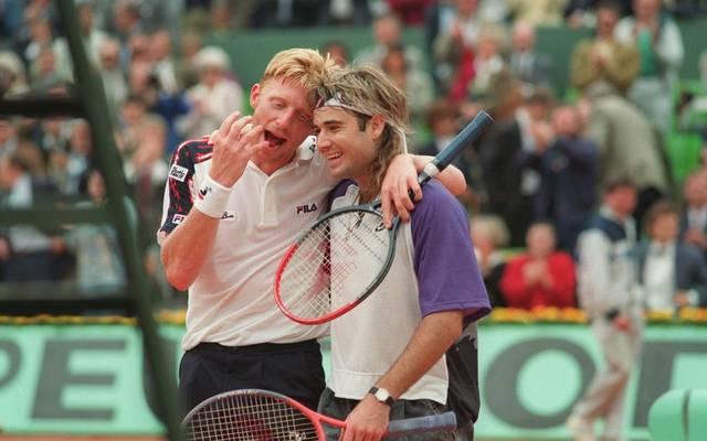 Boris Becker und Andre Agassi (r.) bei den French Open 1991