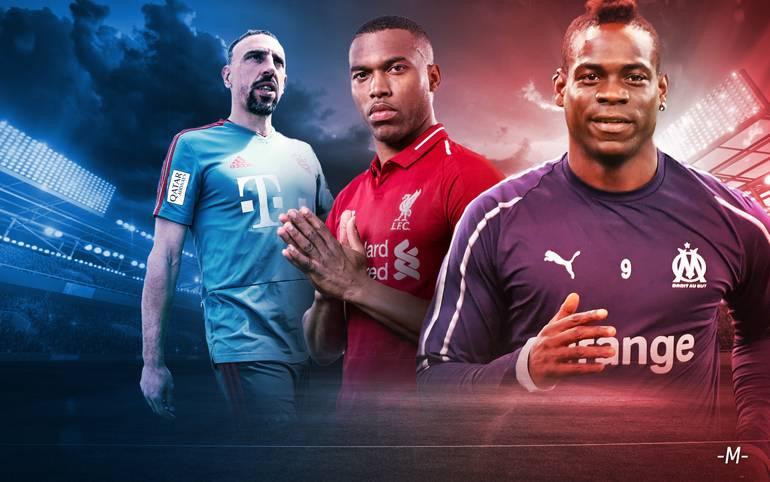 Franck Ribéry, Daniel Sturridge oder Mario Balotelli (v.l.) - zahlreiche Stars von einst stehen im August 2019 plötzlich ohne Vertrag da. Auch ein zweimaliger Champions-League-Sieger hat eine unsichere Zukunft vor sich