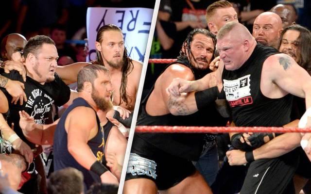 Brock Lesnar (Mitte rechts) ließ sich nur schwer von WWE-Rivale Samoa Joe trennen