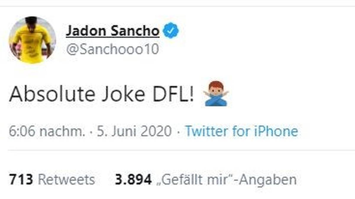 Jadon Sancho reagierte ungehalten auf die DFL-Strafe.