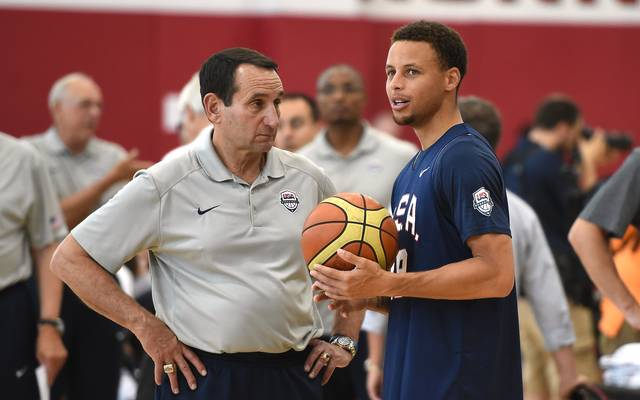 US-Trainer Mike Krzyzewski (l.) mit Superstar Stephen Curry