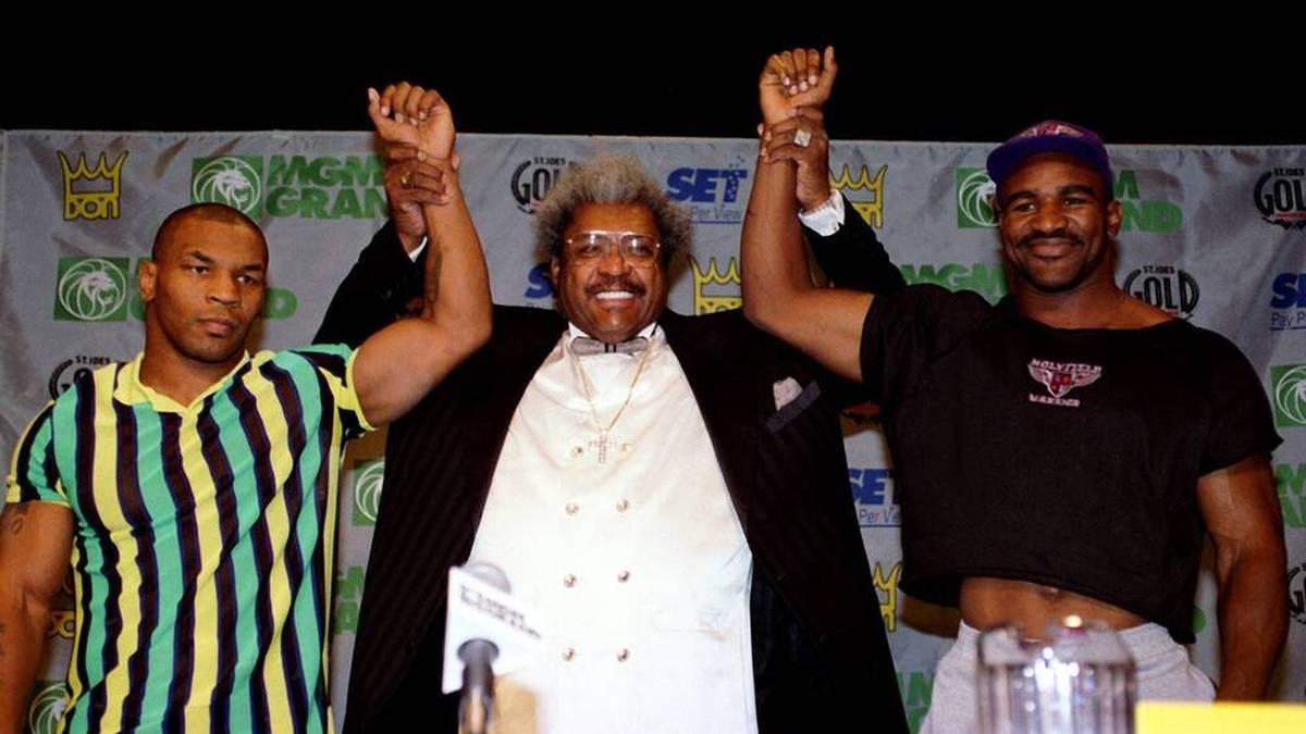 Auch Mike Tyson (li.) und Evander Holyfield (r.) ließen sich Kämpfe von Don King organisieren