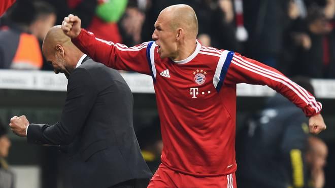 Arjen Robben (r.) hätte gerne weiter mit Pep Guardiola zusammengearbeitet