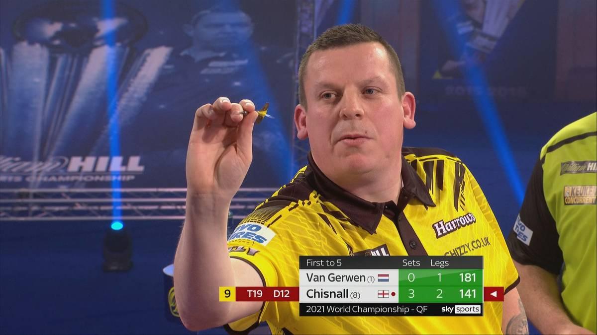 Dave Chisnall demontiert Michael van Gerwen im Viertelfinale. Mehr noch: Chizzy legt im vierten Satz ein fast perfektes Spiel hin.