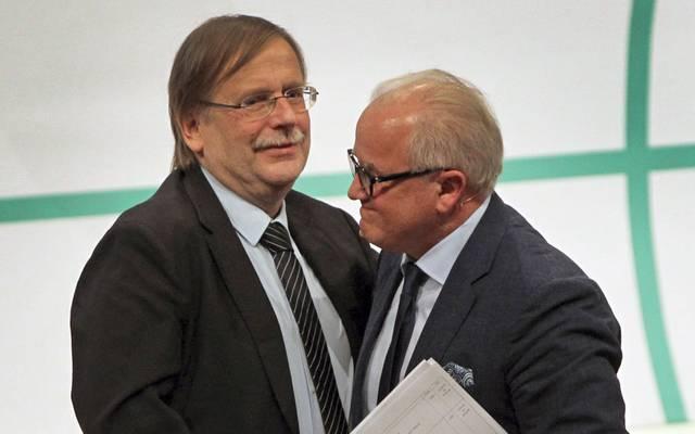 DFB-Vizepräsident Rainer Koch mit dem neuen DFB-Präsidenten Fritz Keller