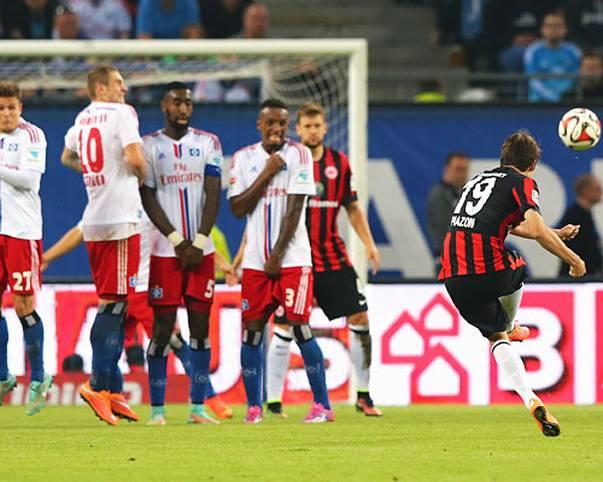 Was für ein Treffer! Das Freistoßtor von Eintrachts Frankfurts Lucas Piazon beim 2:1-Sieg in Hamburg ist der Knaller zum Abschluss des 6. Spieltags
