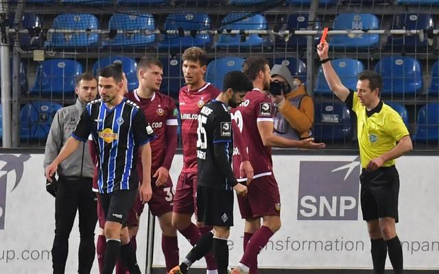 Dynamo Dresden kassierte bei der Last-Second-Pleite gegen Waldhof Mannheim auch zwei Platzverweise