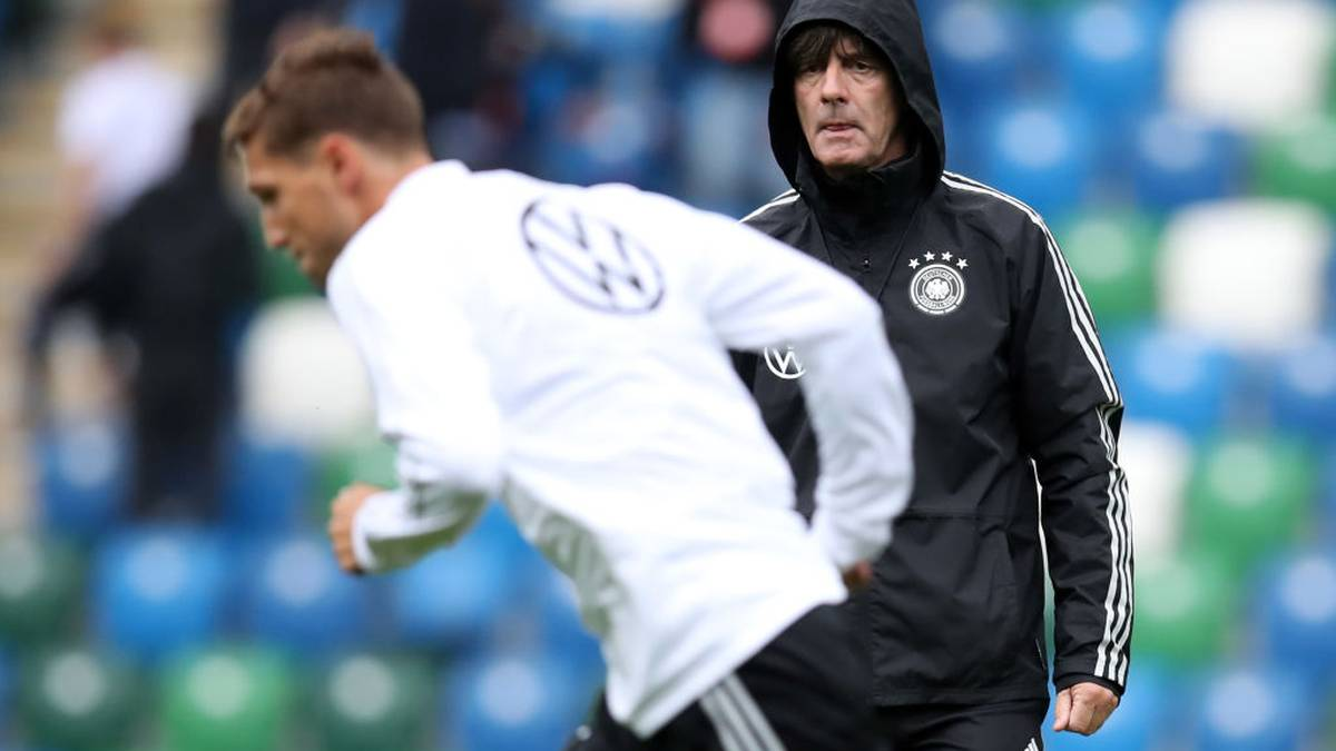 BELFAST, NORTHERN IRELAND - SEPTEMBER 08: Head coach Joachim Loew watches Niklas Stark run during a Germany training session ahead of the UEFA Euro 2020 qualifier match between Northern Ireland and Germany at Windsor Park on September 08, 2019 in Belfast, Northern Ireland. (Photo by Alex Grimm/Bongarts/Getty Images)