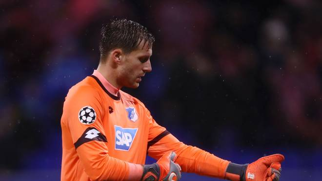LYON, FRANCE - NOVEMBER 07:  Oliver Baumann of 1899 Hoffenheim reacts to Olympique Lyonnais scoring there second goal during the UEFA Champions League Group F match between Olympique Lyonnais and TSG 1899 Hoffenheim at Groupama Stadium on November 7, 2018 in Lyon, France.  (Photo by Alex Grimm/Getty Images)