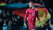 FRANKFURT AM MAIN, GERMANY - NOVEMBER 19: (EDITORS NOTE: Image has been digitally enhanced.) Marc-Andre ter Stegen of Germany looks on during the UEFA Euro 2020 Qualifier between Germany and Northern Ireland at Commerzbank Arena on November 19, 2019 in Frankfurt am Main, Germany. (Photo by Simon Hofmann/Bongarts/Getty Images)