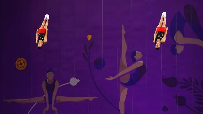 Martin Gromowski und Kyrylo Sonn kämpfen bei der Trampolin-WM um Olympia