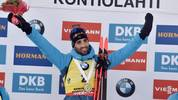 winner Martin Fourcade of France celebrates on the podium after the men's 12,5 km Pursuit competition at the IBU Biathlon World Cup in Kontiolahti, Finland, on March 14, 2020. - Fourcade ends his career now at the end of the season in Kontiolahti where he took his first World Cup victory exactly 10 years ago on March 14, 2010. (Photo by Jussi Nukari / Lehtikuva / AFP) / Finland OUT (Photo by JUSSI NUKARI/Lehtikuva/AFP via Getty Images)