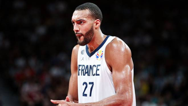 SHENZHEN, CHINA - SEPTEMBER 01: #27 Rudy Gobert of the France National Team reacts against the Germany National Team during the 1st round of 2019 FIBA World Cup at Shenzhen Bay Sports Center on September 01, 2019 in Shenzhen, China. (Photo by Zhong Zhi/Getty Images)