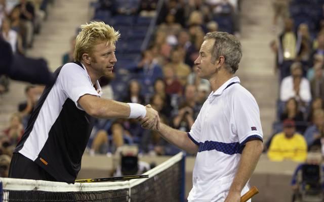 Borris Becker und John McEnroe nach einem Showmatch 2002