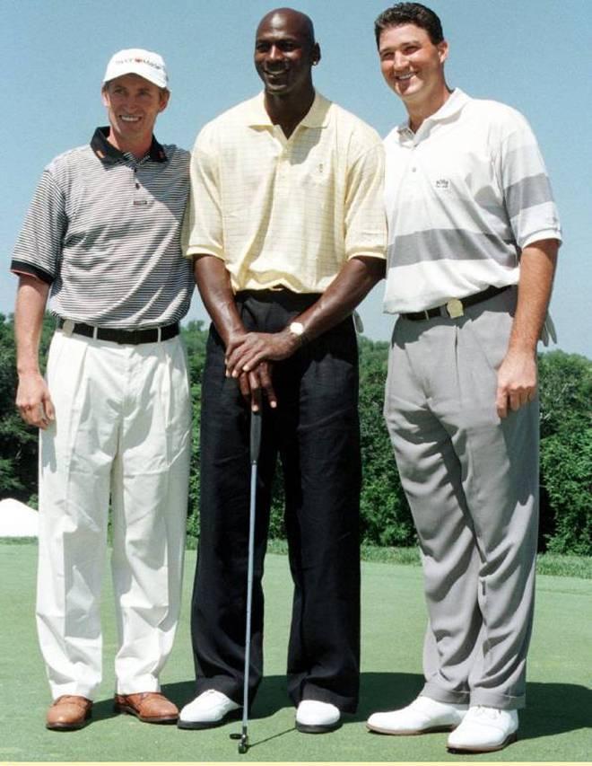 Drei Legenden unter sich: Wayne Gretzky (l.), Michael Jordan und Mario Lemieux (r.)