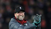 LIVERPOOL, ENGLAND - NOVEMBER 30: Jurgen Klopp, Manager of Liverpool celebrates win after the Premier League match between Liverpool FC and Brighton & Hove Albion at Anfield on November 30, 2019 in Liverpool, United Kingdom. (Photo by Marc Atkins/Getty Images)