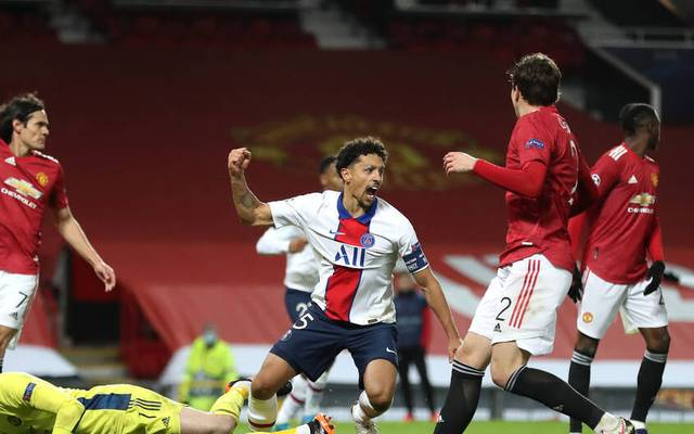 Marquinhos (M.) bejubelt seinen Treffer für PSG im Old Trafford