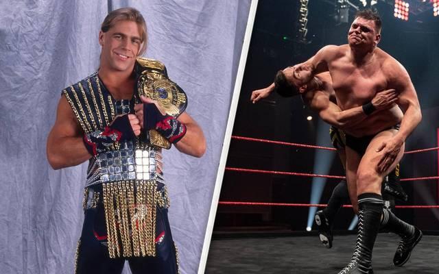 Shawn Michaels (l.) preist das Match von WALTER gegen A-Kid