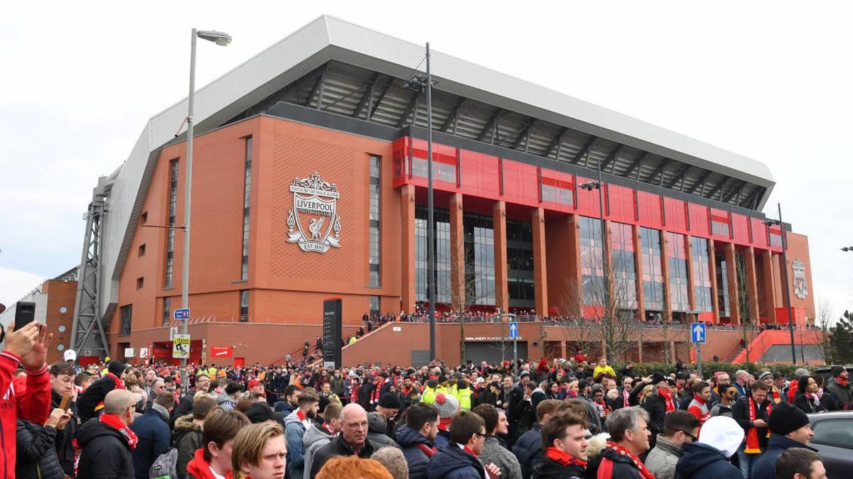 Der Blick auf das Anfield Stadium in Liverpool