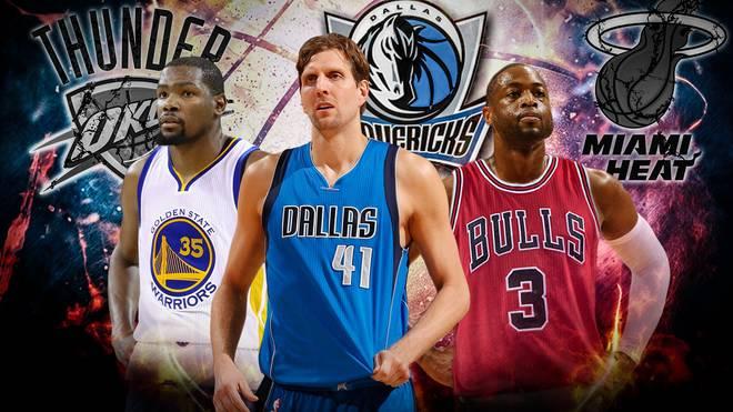 Anders als Kevin Durant (l.) und Dwyane Wade (r.) bleibt Dirk Nowitzki (m.) seinem Team treu
