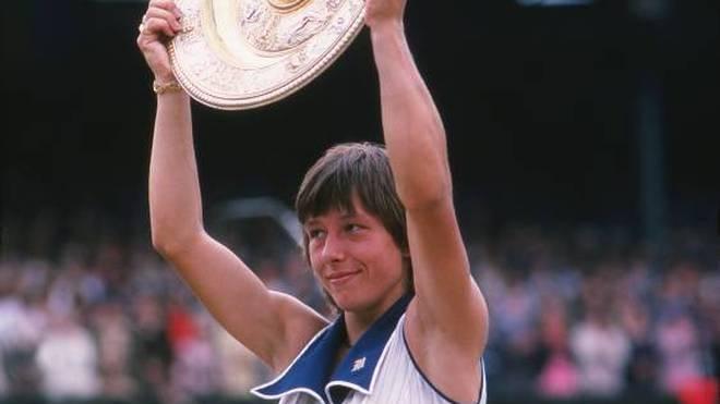 Martina Navratilova 1978 beim ersten ihrer neun Siege in Wimbledon
