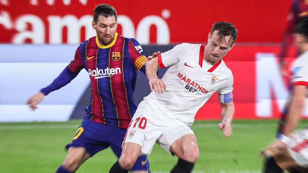 Ivan Rakitic und Lionel Messi (l.) spielten von 2014 bis 2020 beim FC Barcelona zusammen