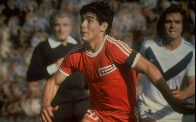 Undated:  Diego Maradona (centre) of Argentina in action during a match for Argentinos Juniors in Argentina