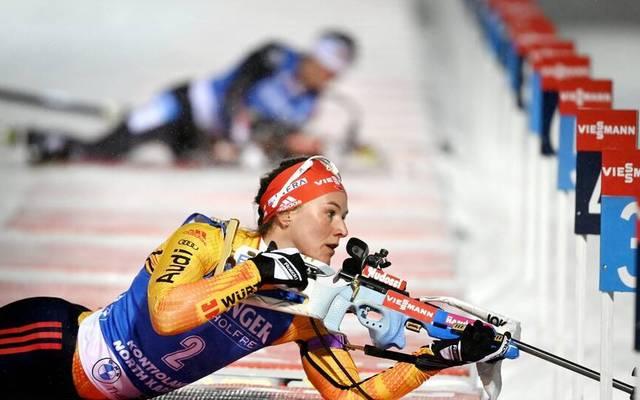 Denise Herrmann und die deutsche Biathlon-Staffel der Frauen überzeugte mit Rang drei beim Weltcup in Kontiolahti