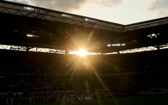 DUISBURG, GERMANY - JULY 31: Sunset during the 3. Liga match between MSV Duisburg and Preussen Muenster at Schauinsland-Reisen-Arena on July 31, 2019 in Duisburg, Germany. (Photo by Christof Koepsel/Getty Images for DFB)