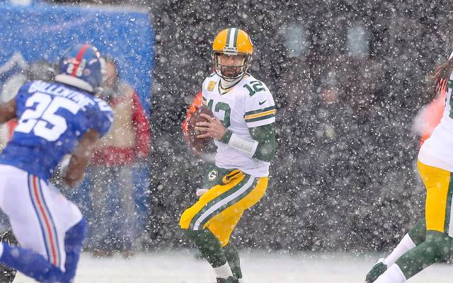 Packers-Quarterback Aaron Rodgers fühlt sich im Schneegestöber pudelwohl