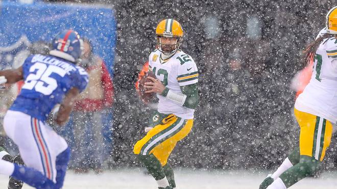 Packers-Quarterback Aaron Rodgers fühlt sich im Schneegestöber pudelwohl