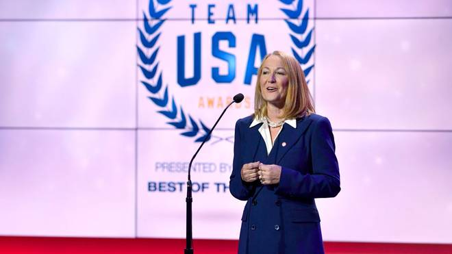WASHINGTON, DC - APRIL 26:  Susanne Lyons speaks onstage at the Team USA Awards at the Duke Ellington School of the Arts on April 26, 2018 in Washington, DC.  (Photo by Larry French/Getty Images for USOC)