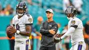 Lamar Jackson and Robert Griffin III of the Baltimore Ravens