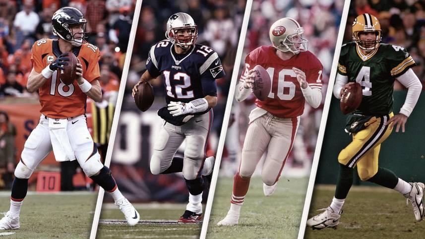 In der NFL steht die Championship Week an. Vier Teams kämpfen um zwei Tickets für den Super Bowl. Vor allem das Duell in der AFC zwischen Tom Brady und Peyton Manning elektrisiert die Massen. SPORT1 zeigt die Quarterbacks mit den meisten Touchdown-Pässen in den Playoffs