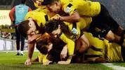 Ein Jubelhaufen von Borussia Dortmund beim Bundesliga-Spiel gegen den 1. FSV Mainz 05