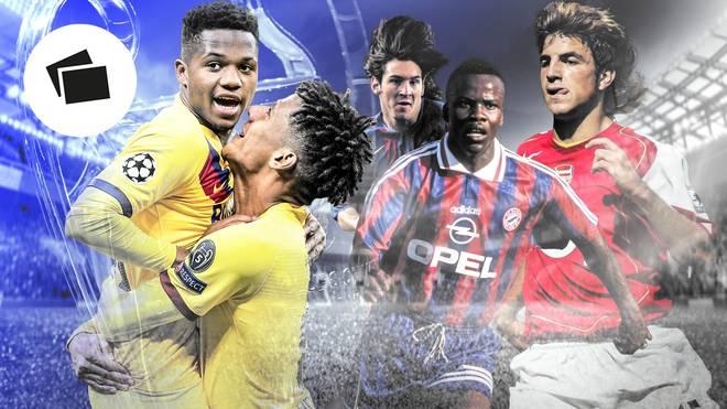Ansu Fati (l.) und die jüngsten Torschützen der Champions League