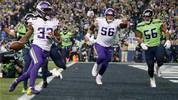 SEATTLE, WASHINGTON - DECEMBER 02:  Running back Dalvin Cook #33 of the Minnesota Vikings rushes for a touchdown in the first quarter against the Seattle Seahawks at CenturyLink Field on December 02, 2019 in Seattle, Washington. (Photo by Otto Greule Jr/Getty Images)