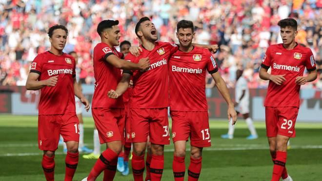 Kevin Volland (Mitte) erzielte das 2:0 für Leverkusen