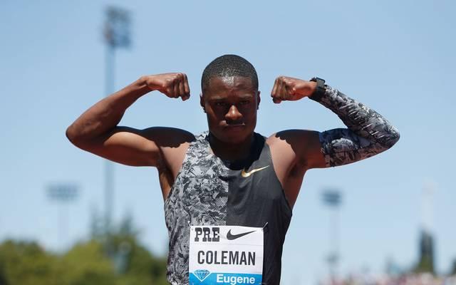 Christian Coleman jubelt nach dem Sieg über 100m bei den Prefontaine Classic