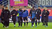 PADERBORN, GERMANY - NOVEMBER 30: Players of Paderborn walk away after losing the Bundesliga match between SC Paderborn 07 and RB Leipzig at Benteler Arena on November 30, 2019 in Paderborn, Germany. (Photo by Thomas F. Starke/Bongarts/Getty Images)