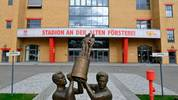 "A statue commemorating Berlin football club FC Union Berlin's victory in  the East German Cup in 1968 stands in front of the club's stadium An der Alten Foersterei in Berlin on March 7, 2019. - Founded in 1966, Union were conceived as a ""civilians' club"", as opposed to the official army club Vorwaerts Berlin, and the club of the secret police - Dynamo Berlin. (Photo by John MACDOUGALL / AFP)        (Photo credit should read JOHN MACDOUGALL/AFP via Getty Images)"