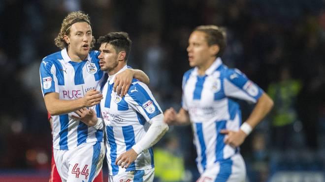 Deutsche Aufstiegshelden von Huddersfield (v.l.): Michael Hefele, Christopher Schindler und Chris Löwe
