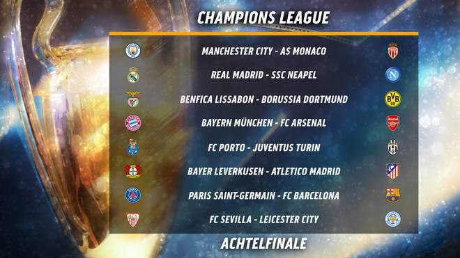 Die Achtelfinal-Partien in der Champions League im Überblick