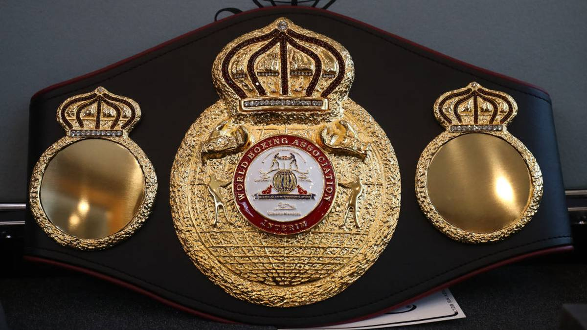 Illustration picture shows the WBA world champion belt in marge of a boxing training session in Charleroi, Thursday 17 October 2019 in Charleroi. On Saturday Belgian Merhy and Hungarian Szello will fight for the interim World Boxing Association World Cruiser Title. BELGA PHOTO VIRGINIE LEFOUR (Photo by VIRGINIE LEFOUR/BELGA MAG/AFP via Getty Images)